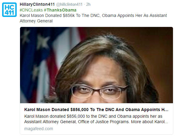 #thanksobama for selling karol mason a spot as the assistant Attorney General