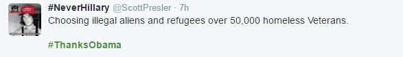 #ThanksObama for choosing refugees over veterans