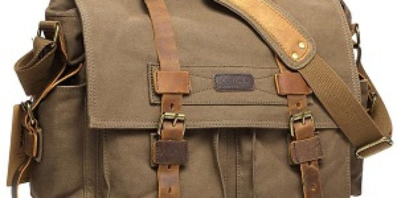 Kattee Leather and Canvas Messenger Style Camera Bag
