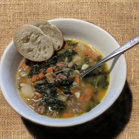 Tuscan Sausage White Bean Kale Soup